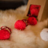 Red Pom Pom Xmas Baubles set of 6