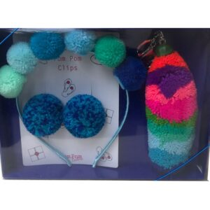 Blue Pom Pom Gift Set Alice Band, Clips and stripe keyring
