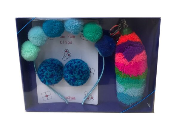 Blue Pom Pom Gift Set Alice Band, Clips and stripe keyring