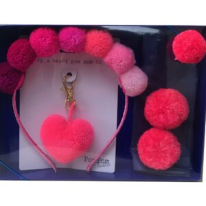 Gift Set with pinks alice band pink heart and clips all with pom poms