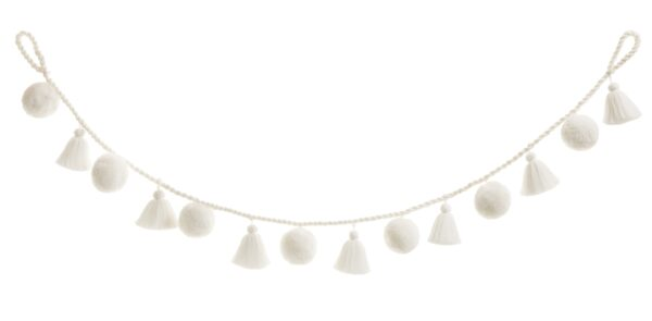 Jumbo White Pom & Tassel Garland 3
