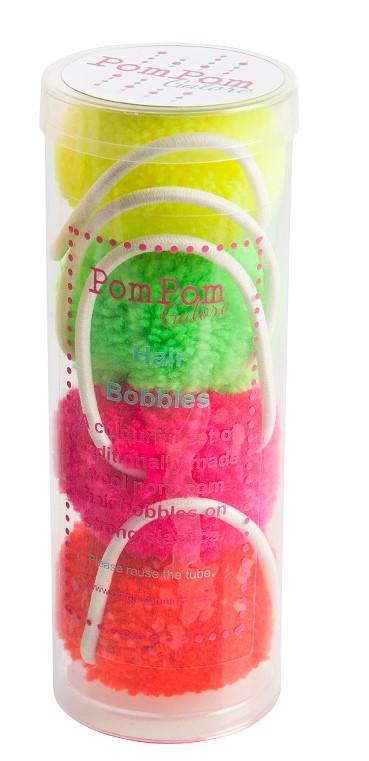 Tube of 4 Pom Pom Hair Bobbles 4