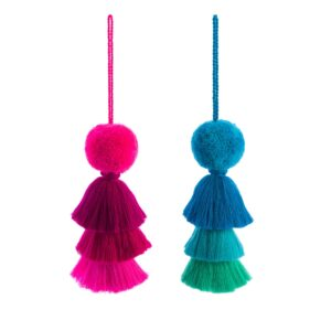 Pom pom and trio tassel pink or blues swags large pom poms