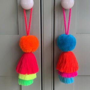 Pom and Trio Tassels Small Neon Colours 5cm pom pom